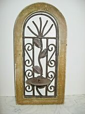 """WALL CANDLE HOLDER, Wood & Wrought Iron, 6"""" X 12"""""""