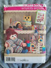 Suffolk Puffwork Yoyo Doll Dachshund Owl Soft Toy Simplicity 2708 Sewing Pattern