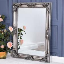 Heavily Ornate Silver Wall Mirror French Chic Bedroom Hallway Home 108cm X 78cm