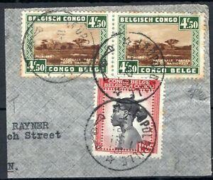 Belgium Colonies CONGO Leopoldville Postmarks CDS Piece 4.5 & 1.25Fr 1942 SS4158
