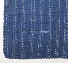 Antique Vintage Kantha Quilt Bedspread Indigo Blue Bedcover Queen Size Throw