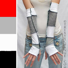 Patchwork Cotton Arm Warmers Grey White Sweater Armwarmers Elbow Gloves 1028