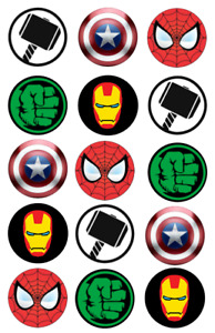 15 Pre-Cut Edible WAFER Super Hero Marvel Logos Cupcake Cake WAFER Toppers
