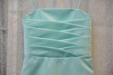 Mini Maids Dress Pageant Alfred Angelo Spaghatti Straps Satin Seafoam Size 6X