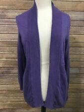Talbots Merino Wool Purple Cardigan Sweater Size Large Open Front Lightweight
