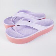 Crocs Women's Crocband Pink Purple Platform Flip Flop Thong Sandals Size 10
