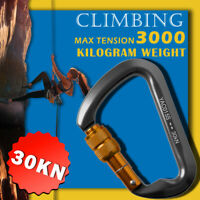 30KN Outdoor D-Shape Aluminum Steel Carabiner Screw Locking Rock Climbing Hiking