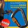 30KN Outdoor D-Shape Aluminum Steel Carabiner Screw Locking Rock Climbing Hiking