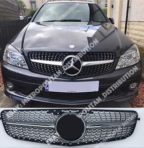 Mercedes C w204 saloon estate coupe grill star diamond single fin AMG C43 SILVER