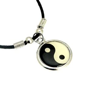 Yin Yang Pendant Necklace With Black Cord Chain Silver Colour Metal 16? Men Gift