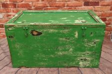 Vintage Antique Blanket box - Coffee table - Rustic Green storage chest