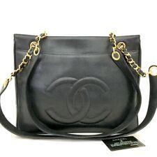 CHANEL CC Logo Caviar Skin Chain Shoulder Tote Bag Black /u251