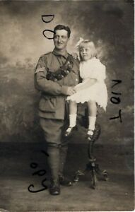 WW1 AIF Australian Imperial Forces unknown mounted unit with young daughter