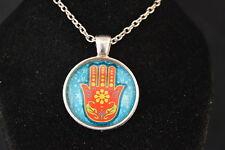 HAMSA Bright Colorful Cabochon PENDANT -  NECKLACE  New!  Jewelry USA! good luck