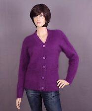 Angora Strickjacke Cardigan in lila und Größe: L oder XL nach Wahl