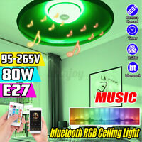80W LED Ceiling Light Music bluetooth Speaker RGB Lamp KTV Home + Remote