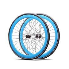 Fixie 700c Deep 45 mmFixed  Front & Rear Wheels set w Tire Tube Blue