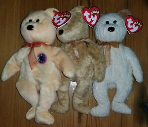 Ty Beanie Babies, Lot Of 3 Bears, Sunny, Huggy, Cashew, All Tags Intact, NWT