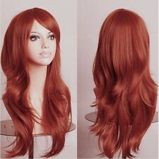 Natural Custom Unique Style Long Curly Wavy Full Orange Red Hair Wig for Women