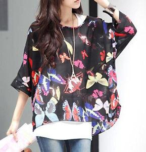 Women Baggy Oversize Batwing Tunic Blouse Floral Chiffon Kaftan Beach Cover Tops