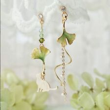 Lazy Autumn Ginkgo Cat Immortal Looks Thin Face Cute Sweet Earrings for Students
