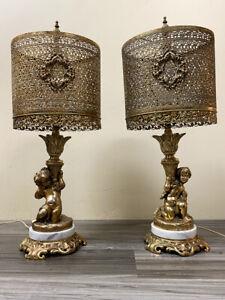 Gilded Mid-Century Cherub Lamps, a Pair