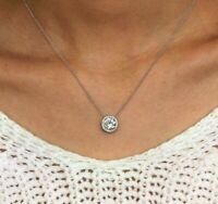 """2.00 carat Round Diamond Halo Pendant Necklace With 18"""" In 14k White Gold Over"""
