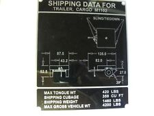 Military M1102 Trailer Shipping Data Plate NOS