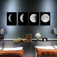 Canvas Photo Print Painting Pictures Home Decor Wall Art Moon on Black Framed