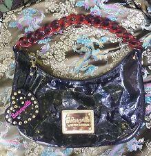 Betseyville Betsey Johnson Black Embossed Hobo Bag Purse Handbag Plastic Chain