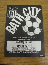 04/10/1983 Bath City v Runcorn  (Light Crease). If this item has any faults they
