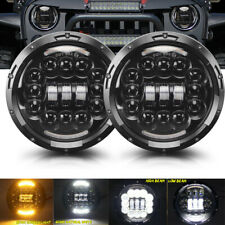 "Pair 7"" LED HALO HEADLIGHTS E MARKED RHD FOR LAND ROVER DEFENDER 90 110 JEEP JK"