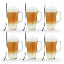 6 X Latte Coffee Glasses Cappuccino Lattes Tea Glass Cups Hot Drink Mugs