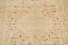 All-Over Floral Oushak Pakistani Oriental Area Rug Beige Hand-Knotted Wool 8x10