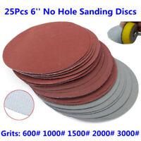 Wet Dry Sandpaper 25Pcs 6'' Grit 600/1000/1500/2000/3000 Hook & Loop Pack New