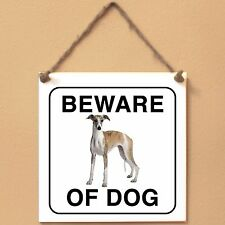 Targa piastrella cartello cane ceramic tile sign Beware of dog Whippet 0