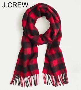 J.CREW merino wool scarf buffalo check plaid red black muffler lambswool soft nr