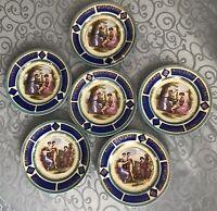 Set of 6 antique1900 Bohemia Carlsbad Czech porcelain hand painted plates