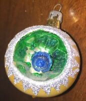 Vintage Glass Christmas Ornament - Gold & Silver Trim