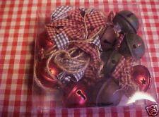 Primitive Xmas Tree Jingle Bells & Bows Garland Rustic Country Cabin Lodge Decor