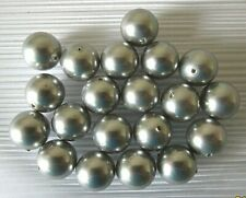 20 Shell pearl beads, grey, round, 10mm