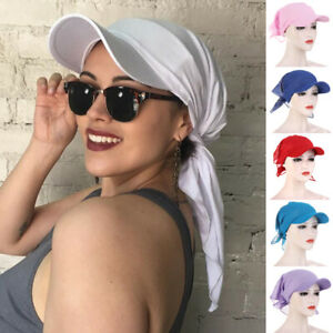 Women Unisex Turban Brim Cap Sun Visor Hat Hijab Head Wrap Cover Scarf Outdoor