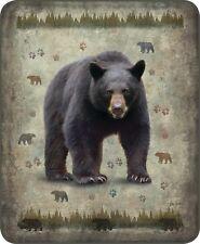 Queen Native Black Bear Print Aztek Plush Mink Faux Fur Blanket Super Soft Full