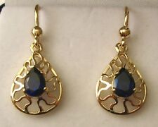 GENUINE SOLID 9K 9ct YELLOW GOLD  SAPPHIRE DROP HOOK EARRINGS