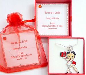 Top Hat & Cane Betty Boop Charm Pendant Necklace Personalised Box Birthday Gift