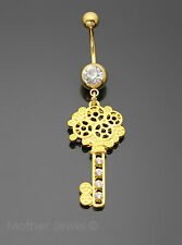 14G CRYSTAL LARGE DANGLE KEY YELLOW GOLD PLATED SURGICAL STEEL BELLY BAR RING