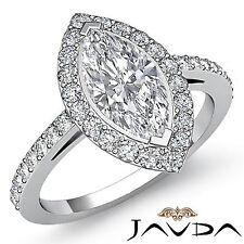 Magnificent Marquise Diamond Pave Engagement Ring EGL F SI1 Platinum 950 1.45 ct