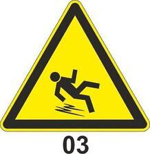 5x 10cm WZ-03 Warnzeichen  vor Rutschgefahr  Aufkleber Warnung