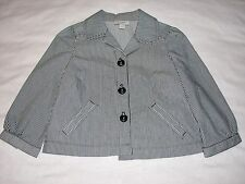 00P Size 0 Ann Taylor Loft Petites Navy Blue Blazer Jacket White Striped Stripes