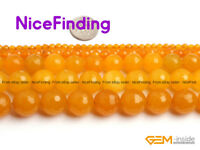 Round Faceted Yellow Jade Stone Beads For Jewelry Making Bracelet Necklace DIY